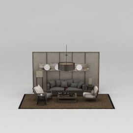 现代中式沙发椅组合3d模型