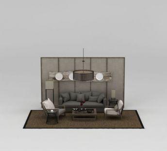 现代中式沙发椅组合