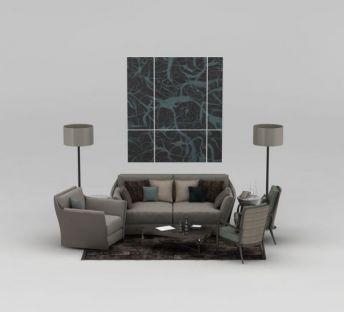 中式沙发背景墙组合