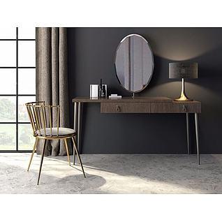 现代梳妆桌椅3d模型