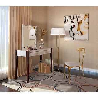 现代梳妆台椅子组合3d模型