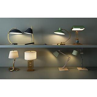 创意复古台灯3d模型