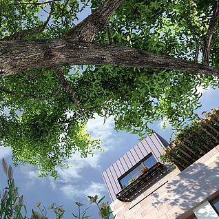 现代住宅小区周边环境3d模型3d模型