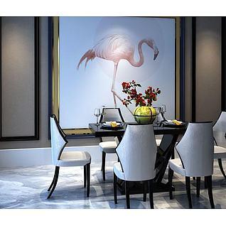 新中式餐厅桌椅3d模型