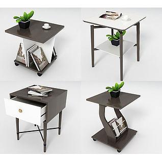 现代角几桌柜组合3d模型3d模型