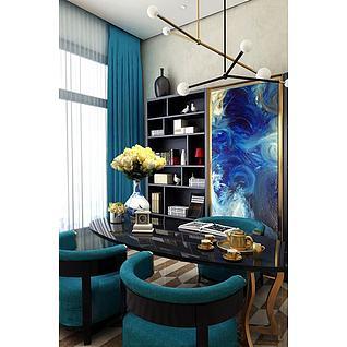 后现代书桌椅沙发组合3d模型