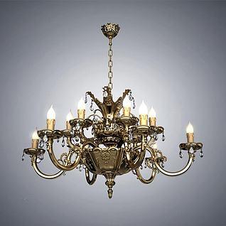 古典欧式金属吊灯3d模型
