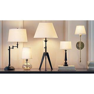 美式台灯壁灯组合3d模型