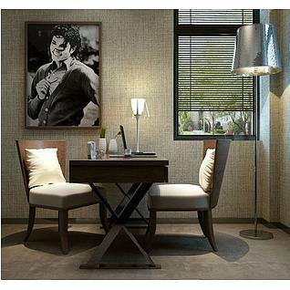 现代书桌椅台灯组合3d模型