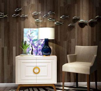 现代边柜椅子鱼墙饰品组合