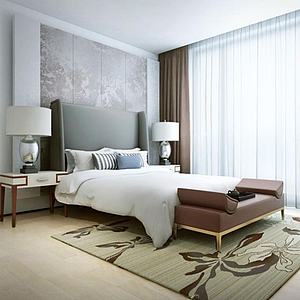 現代床具床頭燈組合模型3d模型