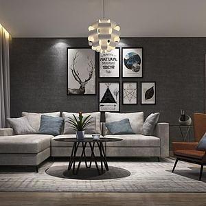 3d客厅<font class='myIsRed'>转角沙发</font>单人沙发组合模型