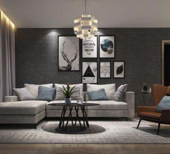 客厅转角沙发单人沙发组合