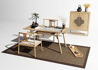 中式原木书桌3d模型