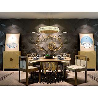 新中式餐桌椅餐边柜组合3d模型