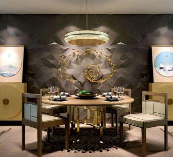 新中式餐桌椅餐边柜组合