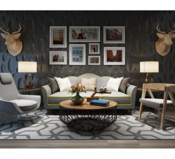 现代沙发茶几挂画墙组合