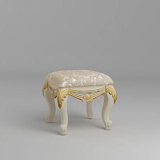 欧式妆凳3d模型
