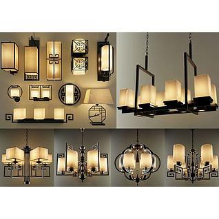 新中式精美吊灯3d模型3d模型