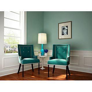 欧式单椅圆几组合3d模型3d模型