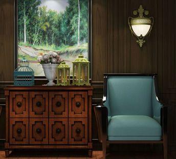 欧式边柜沙发椅组合