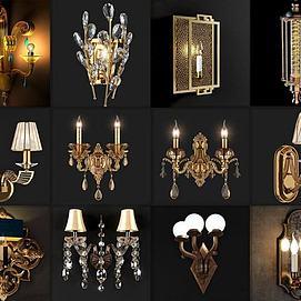 欧式水晶壁灯模型