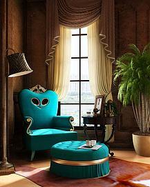 豪华孔雀蓝单人沙发3d模型