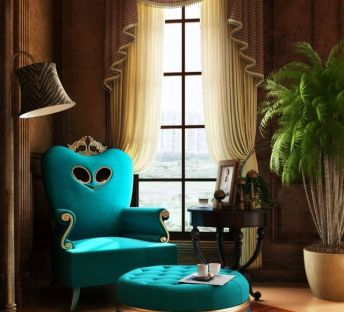 豪华孔雀蓝单人沙发