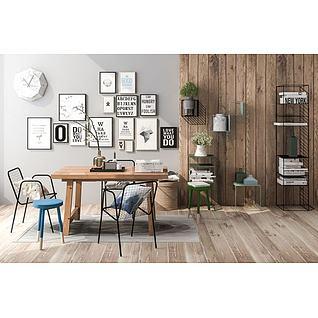 北欧桌椅书架组合3d模型
