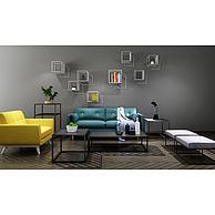 北欧沙发茶几墙壁置物架组合3D模型3d模型