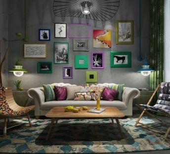 北欧沙发茶几照片墙组合