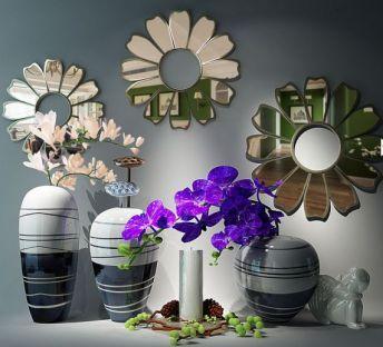 新中式花艺装饰品壁饰组合