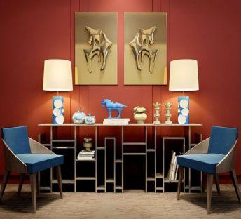 新中式书柜椅子挂饰品组合