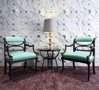 中式古典椅雕刻背景墙组合