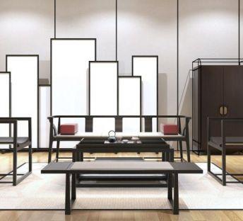 新中式柜子椅子茶几组合