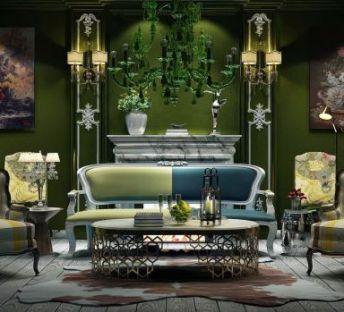 欧式沙发茶几壁灯组合