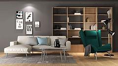现代简约书架沙发椅组合模型3d模型