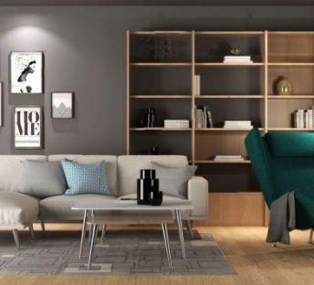 现代简约书架沙发椅组合