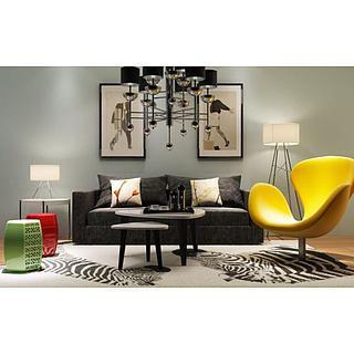 现代镂空凳沙发椅组合3d模型