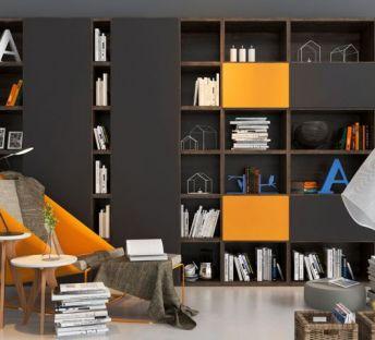 现代书橱休闲椅组合