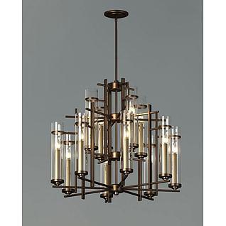 新古典玻璃吊灯3d模型