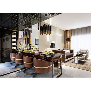 奢华餐桌椅吊灯3d模型
