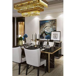 新古典餐桌椅奢华吊灯组合3d模型