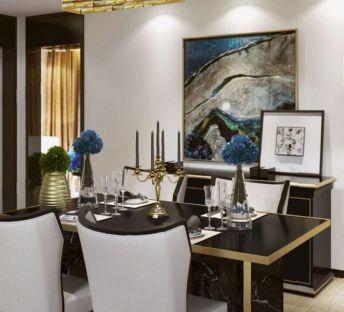 新古典餐桌椅奢华吊灯组合