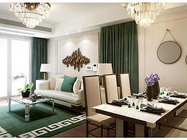 客厅沙发茶几餐厅桌椅组合3d模型