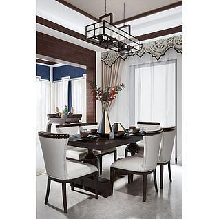 现代中式餐桌椅3d模型