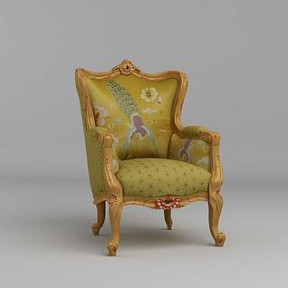 欧式木质沙发椅3d模型