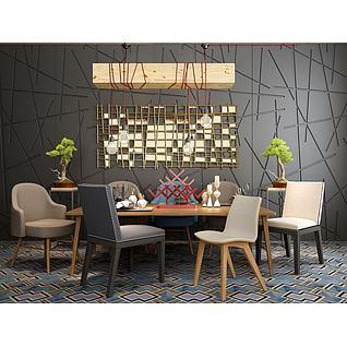 栅格装饰镜桌椅组合3d模型