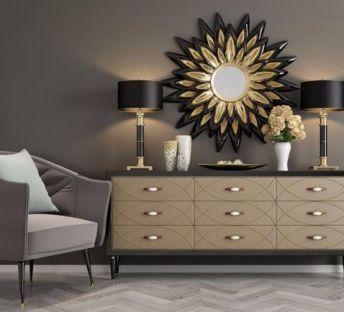 现代边柜单椅墙饰品组合