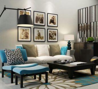 客厅沙发椅屏风组合